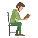 Boy Reads Book that Holds in one Hand on White. Side view of exiting process of learning by young male person. Vector illustration in flat style of boy Stock Photos