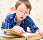 Boy reads the book Stock Image