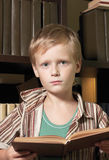 The boy reads the book with a serious kind. Royalty Free Stock Images