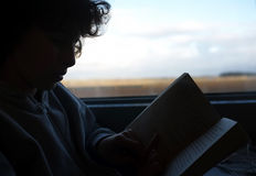 Boy reads a book on train journey Stock Photos