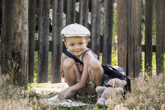 Boy reads a book Stock Photo