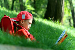 The boy reads the textbook sitting on a grass Royalty Free Stock Image