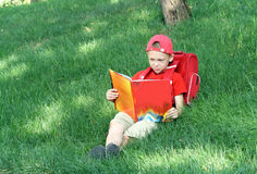 Boy reads the textbook sitting on a grass Stock Image