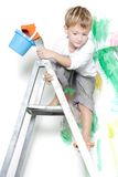 Boy Ready For Painting Over White Stock Image