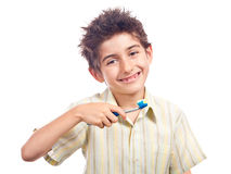 Boy ready for oral hygiene Royalty Free Stock Photos
