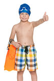 Boy ready for swimming Royalty Free Stock Image