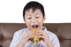 Boy ready to bite a cheeseburger Stock Images