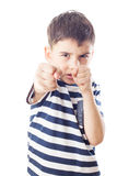 Boy is ready to fight with fists Stock Image