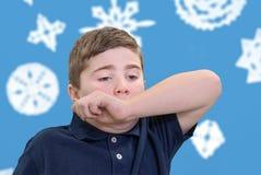 Boy Ready to Sneeze Stock Image