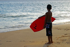 Boy Ready to Surf Stock Photography