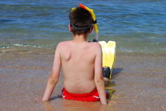 boy ready to swim Stock Photo