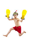 Boy ready to swim and dive. Boy in swimsuit isolated on white background royalty free stock images