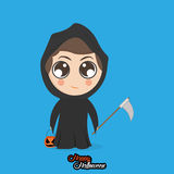 Boy With Reaper Halloween Costume Isolated Stock Photo