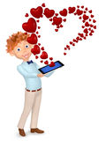 Boy received message as a heart by phone Royalty Free Stock Image