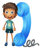 A boy with receiver Royalty Free Stock Photo