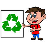 Boy with Recycle Sign Stock Photo