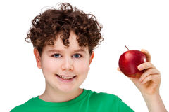 Boy with red apple. Boy holding apple isolated on white background Stock Photos
