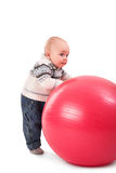 Boy with red ball Stock Photo