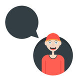 Boy in red baseball cap with speech bubble Royalty Free Stock Photo