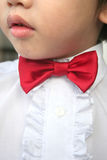 Boy with red bow-tie. Close-up of boy with red bow-tie royalty free stock photos