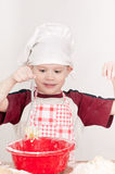 Boy with red bowl Stock Image