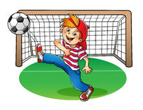 Boy in a red cap kicking a soccer ball. Boy in a red cap and striped t-shirt  with a soccer ball and football goal on white background Royalty Free Stock Photo