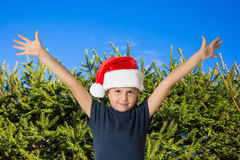 Boy in a red cap of Santa Claus Stock Image