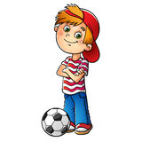 Boy in a red cap with a soccer ball. Boy in a red cap and striped t-shirt  with a soccer ball isolated on white Royalty Free Stock Images