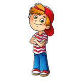 Boy in a red cap and striped t-shirt. Isolated on white Royalty Free Stock Photos