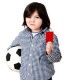 Boy with a red card Royalty Free Stock Photo