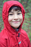 Boy With Red Coat Stock Photos
