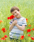 Boy on red flower meadow Stock Photo
