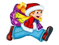A boy in a red fur jacket, blue trousers, a bright yellow scarf and a Christmas hat runs to the right with a red bag full of orang. Es and smiles. Hand-drawn stock illustration