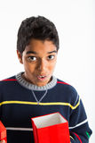 Boy with red gift box Stock Photo