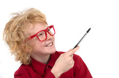 Boy in red glasses. Stock Image