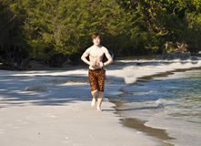 Boy with red hair in bathing cloths Stock Photography