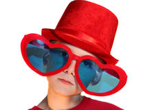 Boy In Red Hat And Heart Glasses Horizontal Royalty Free Stock Images