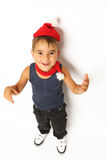 Boy in a red hat and scarf Royalty Free Stock Image