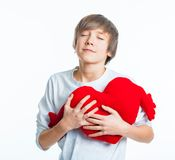 Boy with red heart Royalty Free Stock Photography