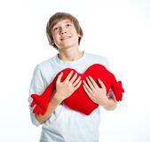 Boy with red heart Royalty Free Stock Images