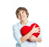 Boy with red heart Stock Photography