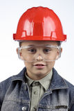 Boy in a red helmet Royalty Free Stock Images