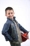 Boy in a red helmet Stock Photo
