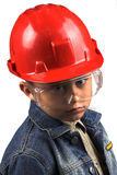 Boy in a red helmet Stock Photo