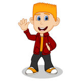 Boy with red jacket and black trousers waving his hand cartoon Royalty Free Stock Images