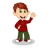 Boy with red jacket and green trousers waving his hand cartoon Stock Images