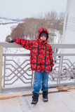 Boy in red jacket standing on the bridge Stock Photography