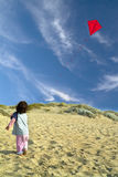 Boy and red kite Stock Image