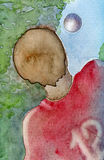 Boy in red match sweater abstract watercolor painting. Boy in red match sweater practices soccer and is about to catch a ball high up in the air Royalty Free Stock Images