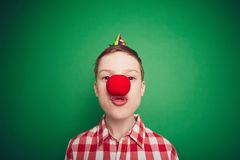 Boy with red nose Royalty Free Stock Photo